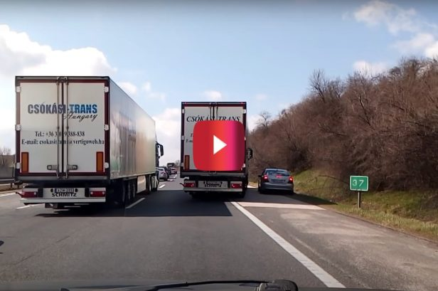 Truckers Trap Mercedes Driver on Highway, and He's Not Happy About It
