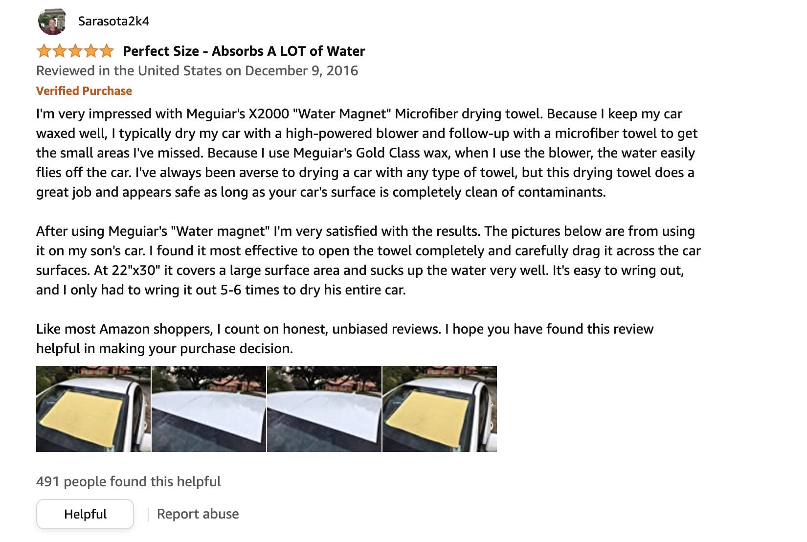 meguiar's water magnet drying towel