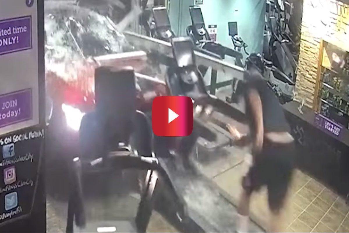 car crashes through gym