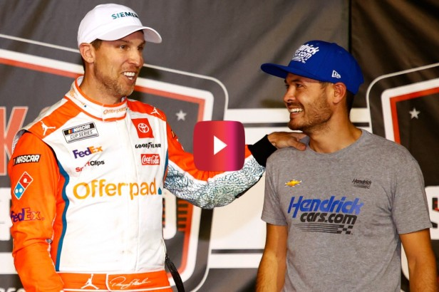 """Kyle Larson's """"Video Game"""" Move Wasn't Enough to Beat Denny Hamlin, But the Footage Is Awesome"""